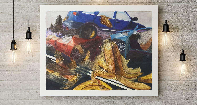 Banana Car Crash Poster on Wall