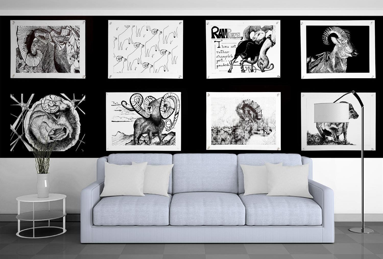Bighorn Sheep art panels on wall