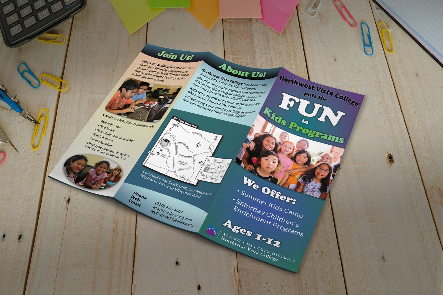 Join Us, About Us, brochure outside