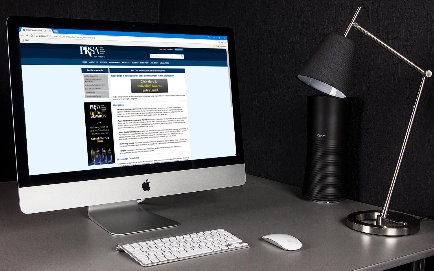 PRSA Public Relations Society of America ad on webpage