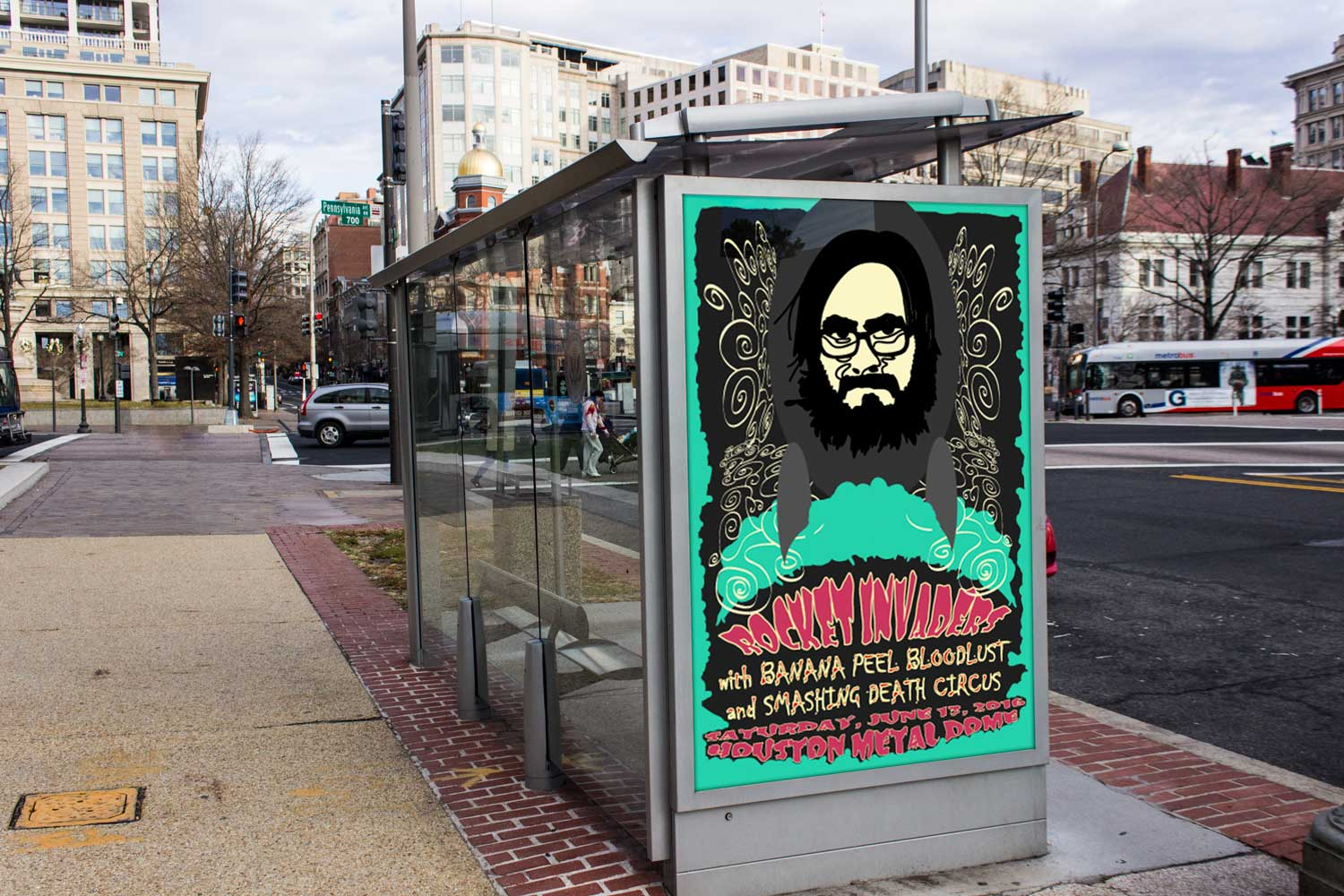 Rocket Invaders bus stop ad